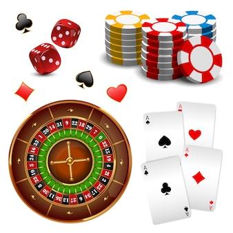 Realistische geïsoleerde en gekleurde casino online games icon set met apparatuur en attributen