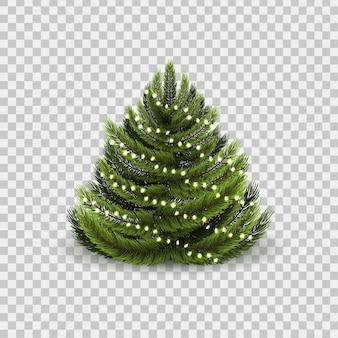 Realistische geïsoleerde kerstboom met kerstverlichting voor decoratie en bekleding op de transparante achtergrond