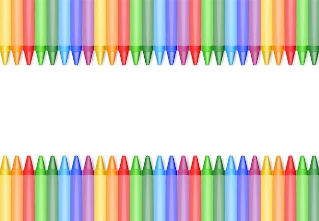 Realistische geïsoleerde kleurpotloden, mooie kleuren, geplaatste kleurpotloden, terug naar school, schoolbanner, illustratie