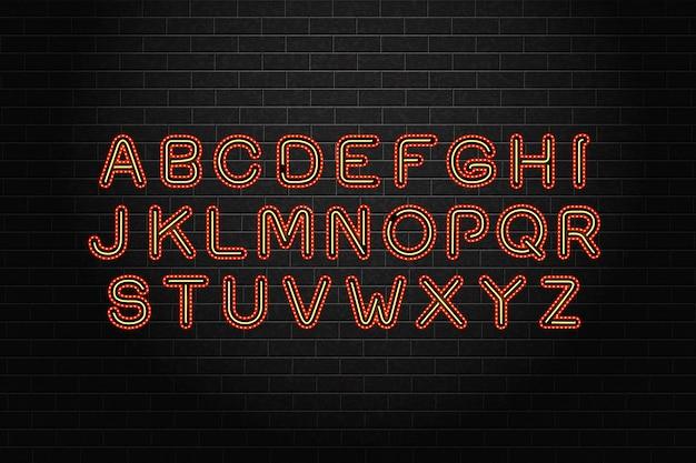 Realistische geïsoleerde lichtkrant gloeilamp neon lettertype