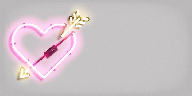 Realistische geïsoleerde neon teken van hart