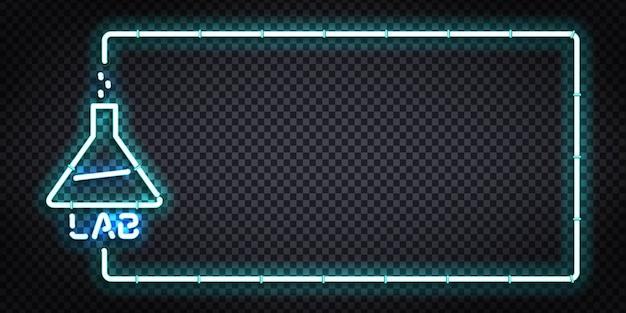 Realistische geïsoleerde neon teken van lab frame-logo