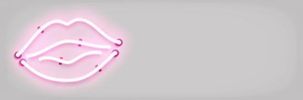 Realistische geïsoleerde neon teken van pink lips Premium Vector