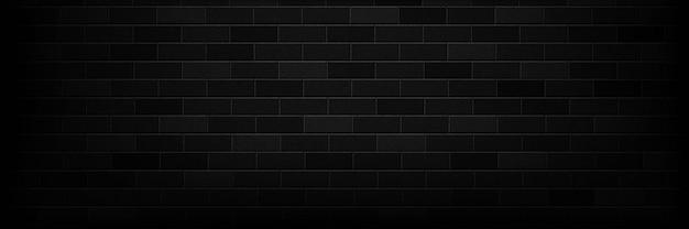 Realistische geïsoleerde panoramische zwarte bakstenen muur achtergrond voor sjabloon en lay-out decoratie