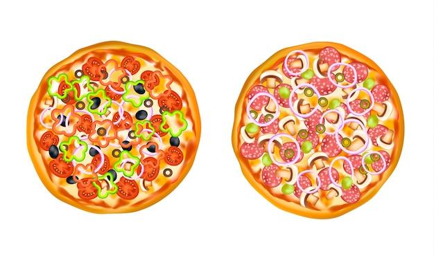 Realistische geïsoleerde pizzaset