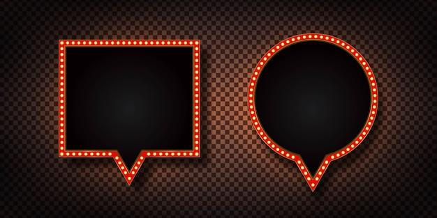 Realistische geïsoleerde toespraak bubble retro selectiekader bord met elektrische licht lampen