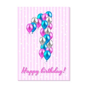 Realistische gekleurde ballonnen op de eerste verjaardag.
