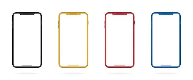 Realistische gekleurde smartphoneframes zwart goud rood en blauw mockup mobiele telefoon vector