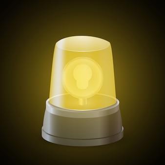 Realistische gele flitslichtsirene. waarschuwingsbord