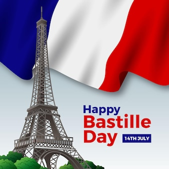 Realistische gelukkige bastille-dag met vlag en de toren van eiffel