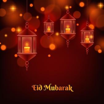 Realistische gelukkige eid mubarak-lantaarns met bokeh-effect