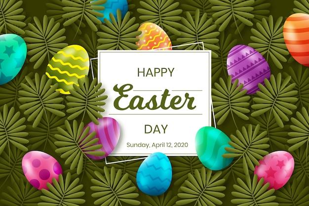 Realistische gelukkige paasdag met eieren en bladeren