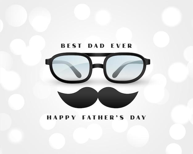Realistische gelukkige vaders dagkaart op witte bokeh-wenskaart