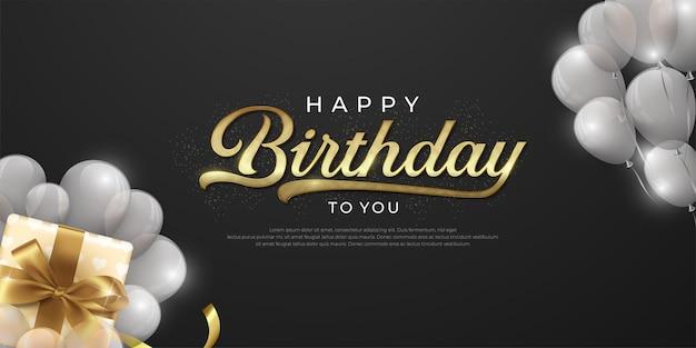 Realistische gelukkige verjaardag in zwart en gouden concept