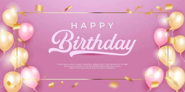 Realistische gelukkige verjaardag met vierkant gouden frame