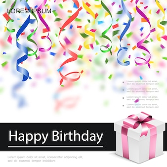 Realistische gelukkige verjaardag wenskaart met huidige doos kleurrijke linten en confetti