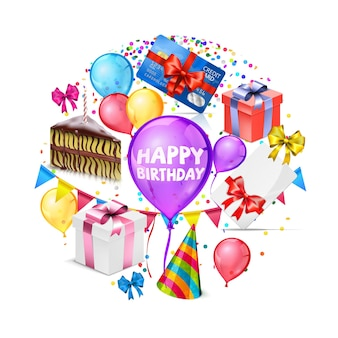Realistische gelukkige verjaardag wenskaart met kleurrijke ballonnen strikken huidige vakken fluitje van een cent partij hoed confetti