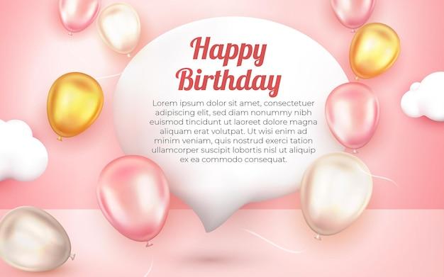 Realistische gelukkige verjaardagswenskaart met 3d gouden roze en witte ballon