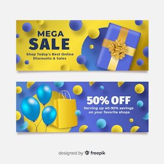 Realistische geometrische verkoop banner collectie