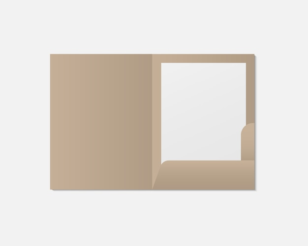 Realistische geopende map en papieren mockup. blanco papier met map. sjabloon. sjabloon voor bedrijfs- en huisstijlidentiteit.