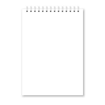 Realistische geopende notebookomslag