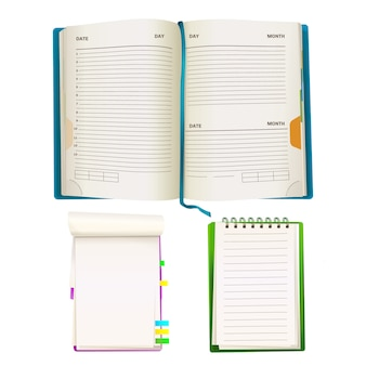 Realistische geopende notepad organisator planners met blanco vellen papier, spiraalmappen