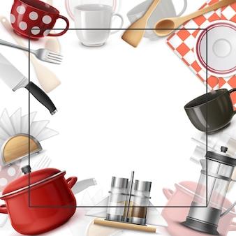 Realistische gerechten kleurrijke sjabloon met frame voor tekst mes vorken spatel houten lepel kopjes pan theepot borden zout en peper shakers servetten