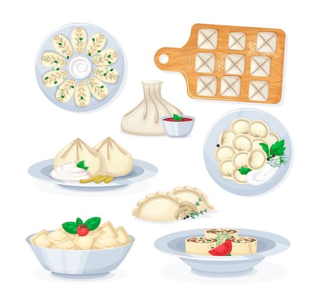 Realistische gerechten uit geïsoleerde illustratie van vlees en deegvoedsel