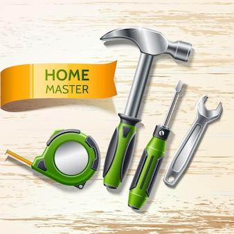 Realistische gereedschappen voor huisreparatie bouwapparatuur tapeline klauwhamer, schroevendraaier en moersleutel