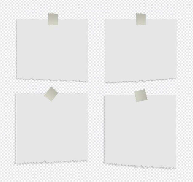 Realistische gescheurde plaknotities geïsoleerd met echte schaduw op wit