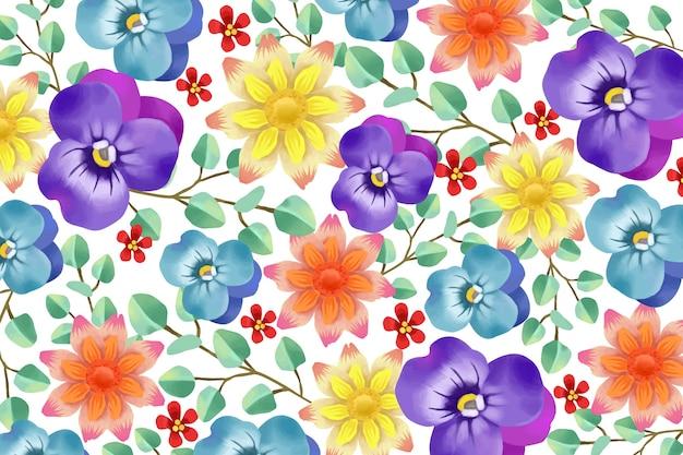 Realistische geschilderde bloemenachtergrond