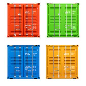 Realistische gesloten vrachtcontainers. vooraanzicht. vector set