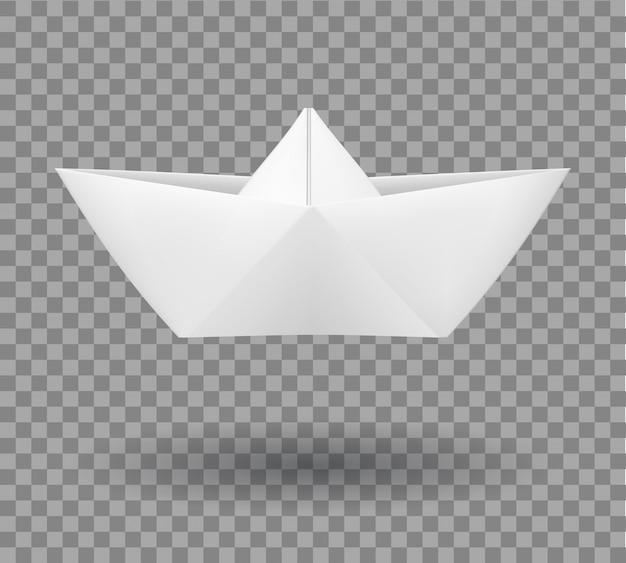 Realistische gevouwen papieren boot in origamistijl.