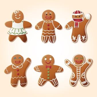 Realistische gingerbread man cookie-collectie