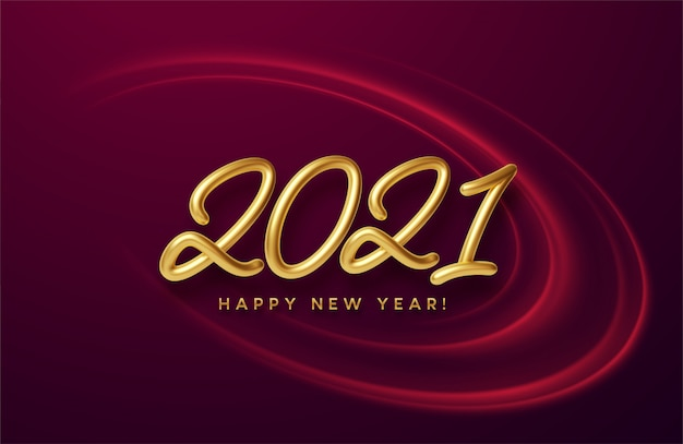 Realistische glanzende 3d-gouden inscriptie 2021 gelukkig nieuwjaar op een achtergrond met rode heldere golven.