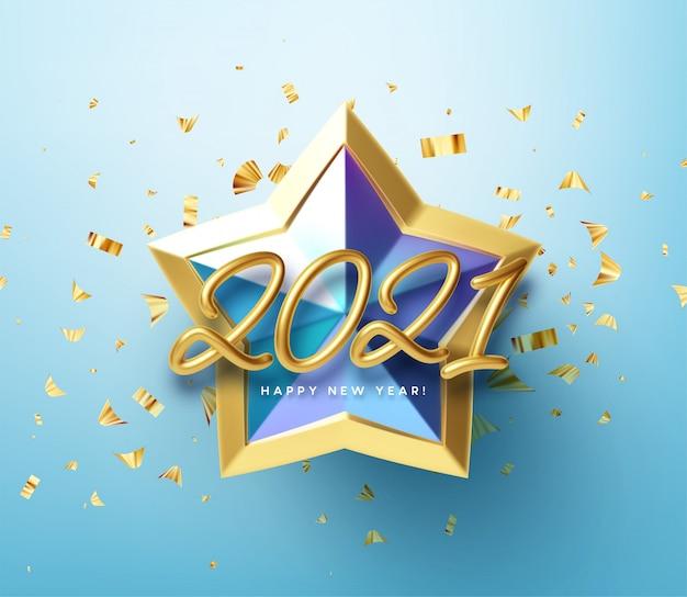 Realistische glanzende 3d-gouden inscriptie 2021 happy new year op een blauwe gouden ster achtergrond.