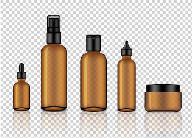 Realistische glanzende amber transparant glas cosmetische druppelaar