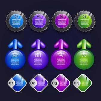 Realistische glanzende infographic elementen collectie
