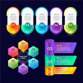 Realistische glanzende infographic elementen sjabloon set Gratis Vector