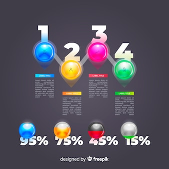 Realistische glanzende infographic elementencollectie