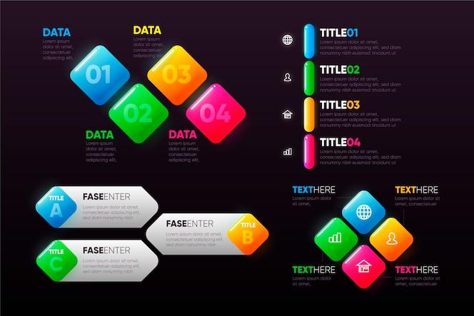 Realistische glanzende infographic elementenverzameling