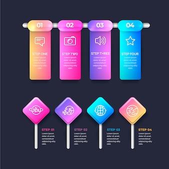 Realistische glanzende infographic stappen