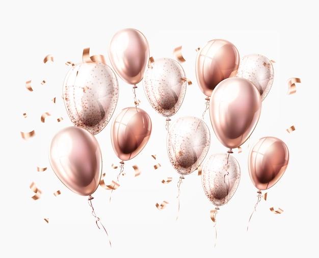 Realistische glanzende lucht ballonnen confetti glanzende decoratie