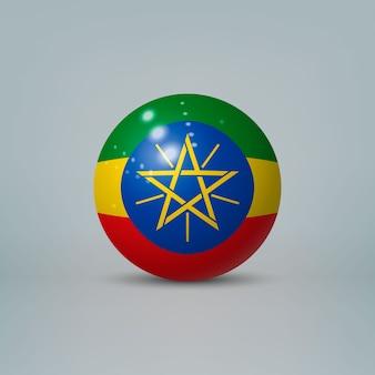 Realistische glanzende plastic bal met vlag van ethiopië