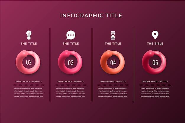 Realistische glanzende sjabloon tijdlijn infographic