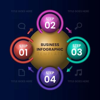 Realistische glanzende stap infografische sjabloon