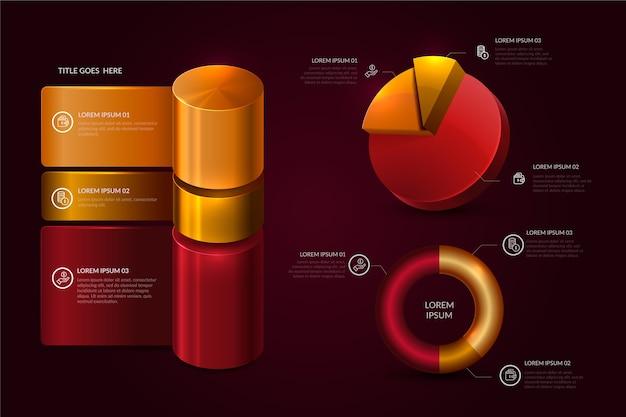Realistische glanzende tijdlijn infographic