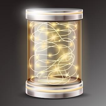 Realistische glazen cilinder met licht guirlande cadeau