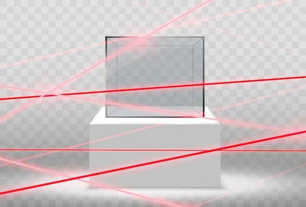 Realistische glazen doos of container op een witte standaard Premium Vector