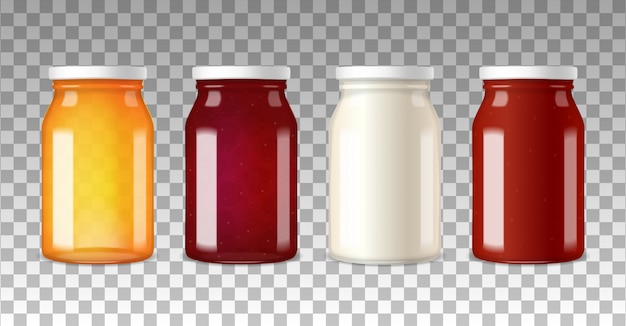 Realistische glazen flessen met schroefdoppen